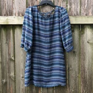 Three Hearts Chevron 3/4 Sleeve Dress